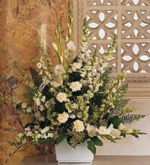 Traditional Basket of Funeral Flowers