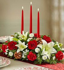 Traditional Christmas Center Piece  Mixed Flowers Holiday Colors
