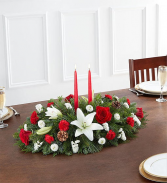 Traditional Christmas Centerpiece 2 Candles centerpiece arrangement