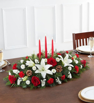 Traditional Christmas Centerpiece 3 Candle centerpiece arrangement