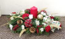 Traditional Holiday Centerpiece Fresh Floral Arrangement