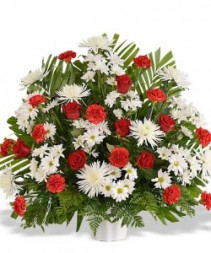 Traditional Red Funeral Arrangement