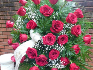 traditional red rose standing spray Sympathy in Canton, GA | Canton Florist