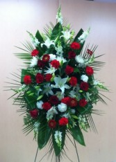 Traditional Red White Standing Spray Premium Funeral Flowers