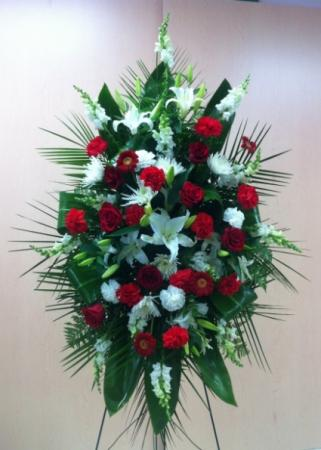 Traditional red white standing spray premium funeral flowers in traditional red white standing spray premium funeral flowers mightylinksfo