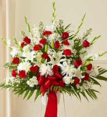 Traditional Red & White Sympathy Basket
