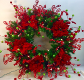 Holiday Dreams Lighted Permanent Botanical Wreath