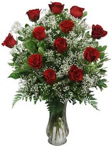 TRADITIONAL VALENTINE Dozen Long Stem Red Roses