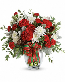 Traditional Vase of Holiday Christmas Arrangement