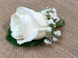 Traditional White Boutonniere Most Popular Choice For Prom in Fairfield, CT | Blossoms at Dailey's Flower Shop