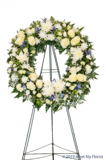 Traditional White Funeral Wreath