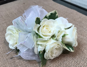 Traditional White Rose  Wrist Corsage in Fairfield, CT | Blossoms at Dailey's Flower Shop