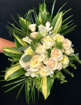 Traditional white with a Touch of Tropical Wedding Bouquet