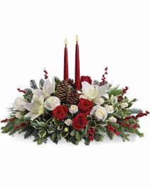Traditional with cones, holly, candles