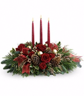 Traditions 3-Candle  Low and Long Centerpiece in Wake Forest, NC | Distinctive Designs