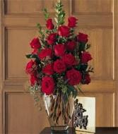 18 roses  vase
