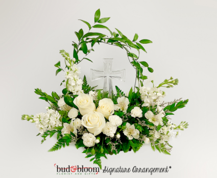 Tranquil Cross Bud & Bloom Signature Arrangement