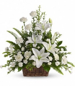 Tranquil White Lilies Basket in Cumberland, MD | Victorian Creations
