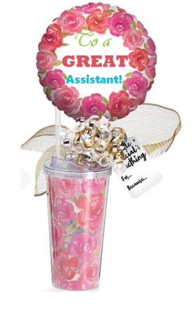 Administrative Assistance Gift Travel Mug, Candy and Balloon in Plainview, TX | Kan Del's Floral, Candles & Gifts
