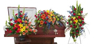 Treasured Celebration Trio Full Closed Spray in Saint Louis, MO | Irene's Floral Design