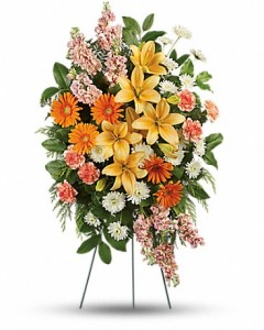 Treasured Lilies Spray Sympathy Arrangement in Jasper, TX | BOBBIE'S BOKAY FLORIST