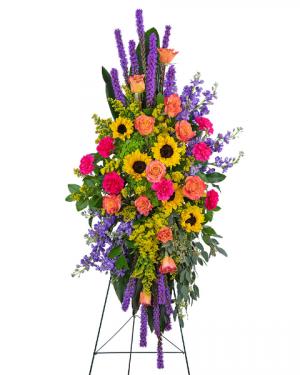 Treasured Memories Standing Spray Sympathy in Nevada, IA | Flower Bed