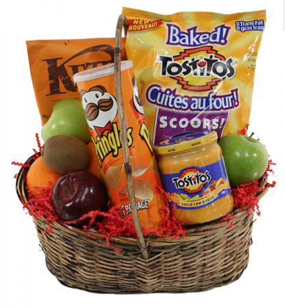 Treat, fruit and snack basket  Gift basket