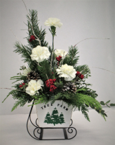 TREE FARM SLEIGH FRESH FLOWER ARRANGEMENT