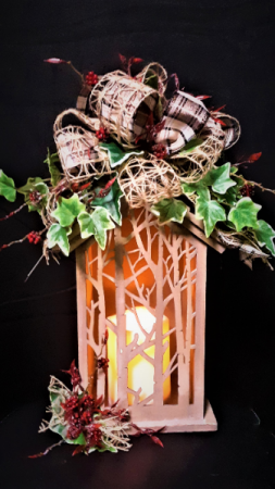 Tree of Life lantern with silk flowers