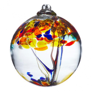"TREE OF POSITIVITY 6"" HAND BLOWN GLASS BALL"
