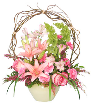 Trellis Flower Garden Sympathy Arrangement in Claremont, NH | FLORAL DESIGNS BY LINDA PERRON