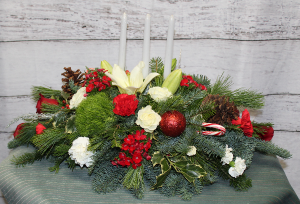Tri Candle Centerpiece  in Stevensville, MT   WildWind Floral Design Studio