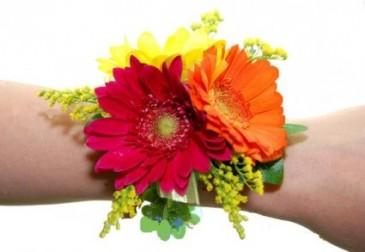 Tri Colour Gerbera Daisies Wrist Corsage