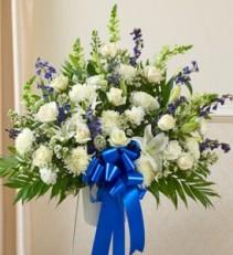Tribute Blue & White Floor Basket Arrangement  sympathy