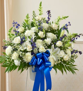 Tribute Blue Amp White Floor Basket Arrangement Sympathy In