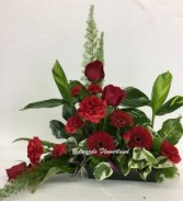 Tribute in Red Tabletop Spray Sympathy