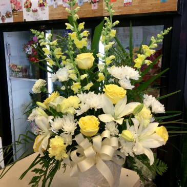 Tribute in white and yellow