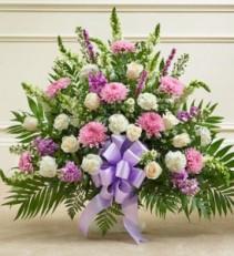 Tribute Lavender & White Floor Basket Arrangement