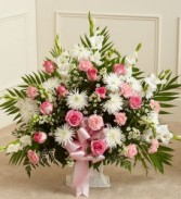 Tribute Pink and White Funeral Arrangement Funeral/Sympathy