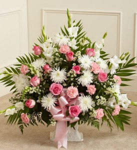 Tribute Pink and White Funeral Arrangement Funeral/Sympathy in Fort Wayne, IN | THE FLOWER SHOP