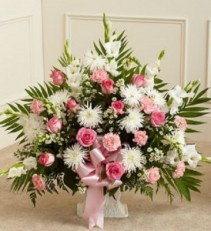 Tribute Pink & White Floor Basket (Deluxe) Funeral Flowers,