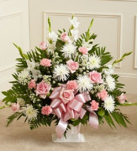 Tribute Pink/White Floor Basket (Standard) Funeral Flowers