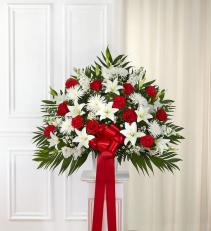 Tribute Red & White Floor Basket Arrangement 91209