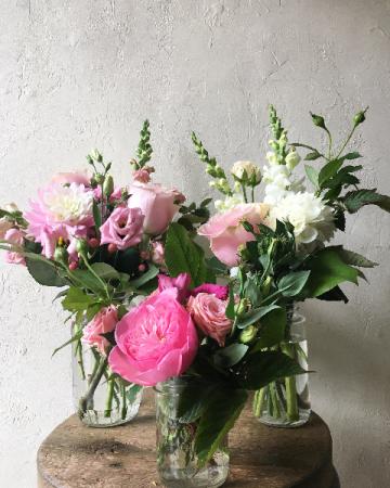 Ombré Pink Blooms in Trio Jars