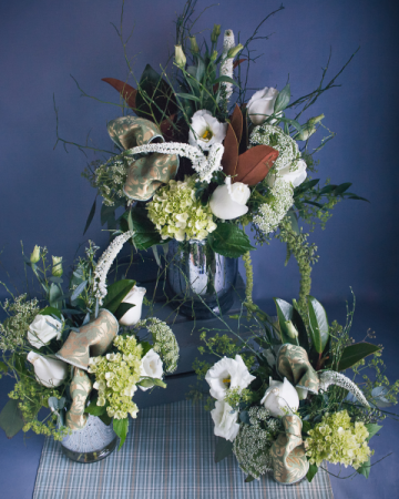 Trio of Winter Arrangements Vase Grouping