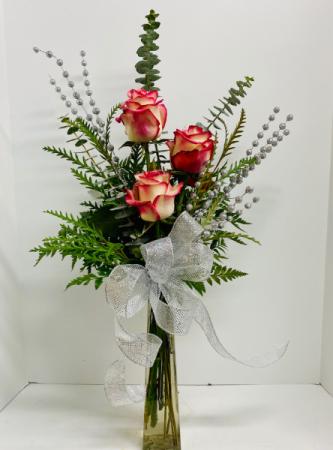 Triple Bud Vase Bi-Colored Roses