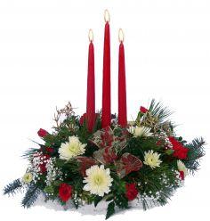 Triple Candle Arrangement Centerpiece