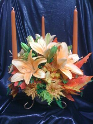 Triple Candle  Centerpiece in Katy, TX | KD'S FLORIST & GIFTS