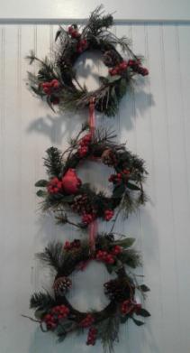 Triple Christmas wreath with bird berries cones