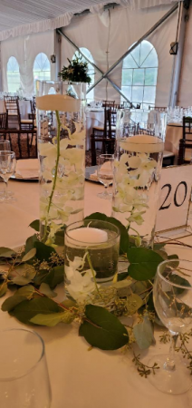 Triple Cylinders  with orchids  Centerpiece